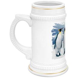"""Кружка пивная """"Три пингвина"""" - птица, снег, акварель, пингвин, антарктида"""