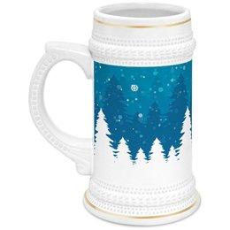 """Кружка пивная """"Зимняя"""" - новый год, зима, снежинки, день св валентина, ель"""