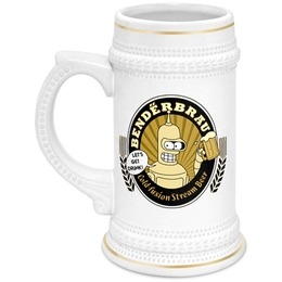 "Кружка пивная ""Benderbrau"" - футурама, бендер, пиво, подарок, пивная кружка, benderbrau"