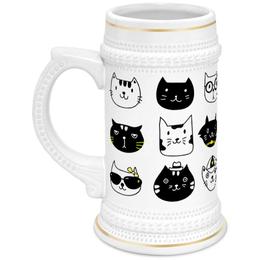 """Кружка пивная """"Милые котики"""" - кот, животные, котики, прикольные коты"""