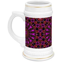 """Кружка пивная """"purple"""" - арт, узор, фиолетовый, абстракция, фигуры"""