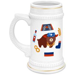 """Кружка пивная """"Россия (Russia)"""" - медведь, ушанка, рф, россия, russia"""