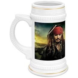 """Кружка пивная """"Джек Воробей"""" - пираты, джек воробей, карибы, весёлый роджер"""