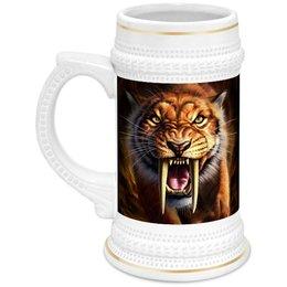 """Кружка пивная """"ТИГРЫ ФЭНТЕЗИ"""" - хищник, животные, саблезубый тигр, стиль эксклюзив креатив красота яркость, арт фэнтези"""