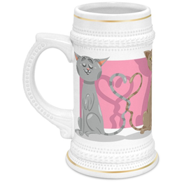"""Кружка пивная """"Влюблённые коты"""" - день св валентина, валентинка, коты, любовь"""