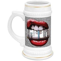 """Кружка пивная """"Губы и доллары"""" - деньги, губы, lips, доллары, dollars"""
