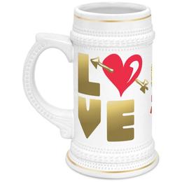 """Кружка пивная """"День Св. Валентина"""" - сердце, валентинка, купидон, день св валентина"""