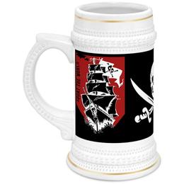 """Кружка пивная """"Пиратский корабль"""" - пираты, корабль, паруса, весёлый роджер"""