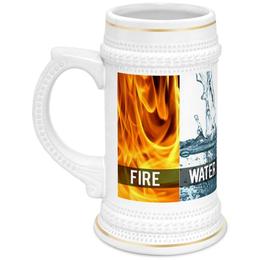 """Кружка пивная """"Вечные ценности"""" - огонь, земля, пиво, вода"""