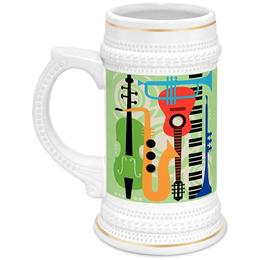 """Кружка пивная """"Музыкальные инструменты"""" - музыка, гитара, скрипка, инструменты, саксафон"""