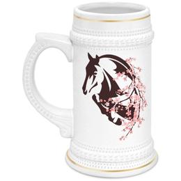 """Кружка пивная """"Лошадь"""" - цветы, лошадь"""