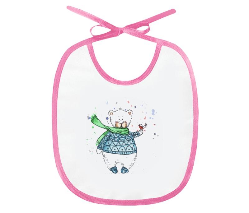 Слюнявчик Printio Белый медвежонок брендовую детскую одежду оптом алматы