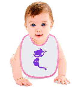 "Слюнявчик ""Кошечка"" - кот, кошка, котенок, фиолетовый, кошечка"