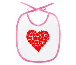 """Слюнявчик """"Hearts"""" - сердце, heart, любовь, символ"""