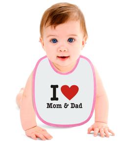 "Слюнявчик ""i love Mom and Dad"" - папа, семья, мама"