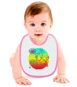 """Слюнявчик """"Аист и колыбель"""" - ребенок, младенец, аист, пуговица, колыбель"""