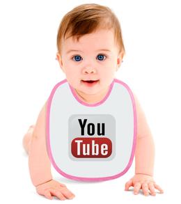 "Слюнявчик ""YouTube"" - арт, дизайн, знак, логотип, символ"