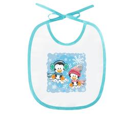 """Слюнявчик """"Пингвин зимой"""" - новый год, зима, пингвин, снежинки"""
