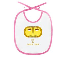 "Слюнявчик ""Лео и Супер-суп"" - лев, звери, суп, львенок, гороскп"