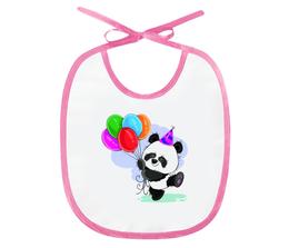 """Слюнявчик """"Панда поздравляет!"""" - панда, медвежонок, день рождения, подарочный, шарики"""