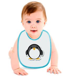 "Слюнявчик ""Пингвинёнок"" - животные, птица, рисунок, пингвин, птинец"