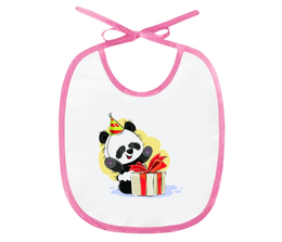 """Слюнявчик """"Панда поздравляет!"""" - подарок, детский, подарочный, панда, медвежонок"""