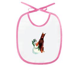 """Слюнявчик """"забавная акварельная собака, символ 2018 года"""" - милый, собака, символ года, акварель, снеговик"""
