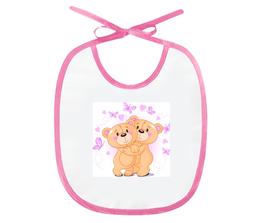 "Слюнявчик ""Мишки"" - бабочки, мультики, мишка, розовый, сердечки"