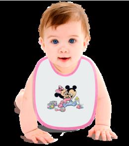 "Слюнявчик ""Микки и Минни в детстве"" - mickey mouse, малыши, minni mouse, babies"