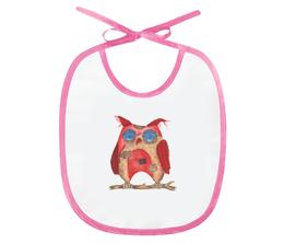 """Слюнявчик """"Текстильная сова"""" - сова, животные, текстиль, красный"""