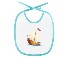 """Слюнявчик """"Кораблик плывущий по волнам."""" - позитив, кораблик, море, парус, плыть"""
