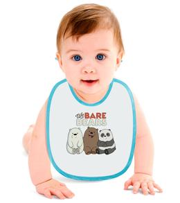 """Слюнявчик """"We bare bears"""" - панда, белый, медведи, гризли, webarebears"""