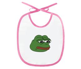 """Слюнявчик """"Грустная лягушка"""" - мем, meme, грустная лягушка, sad frog, pepe frog"""