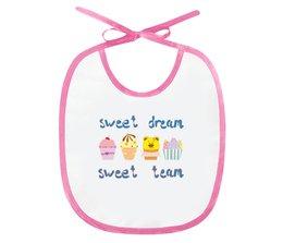"""Слюнявчик """"Sweet dream - sweet team"""" - смешные, забавные, пирожные, funny cakes"""
