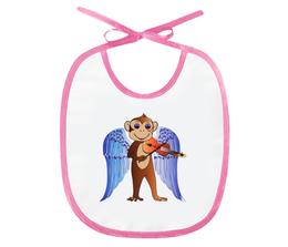 """Слюнявчик """"Обезьянка  музыкант"""" - музыка, дети, обезьянка музыкант"""