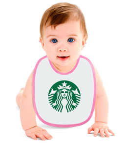 """Слюнявчик """"STARBUCKS"""" - logo, логотип, символ, starbucks, старбакс"""
