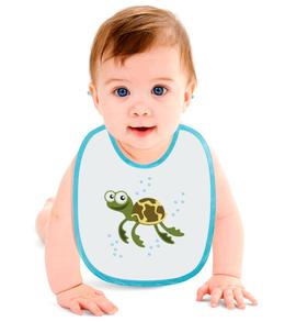 """Слюнявчик """"Морская черепаха"""" - животные, море, рисунок, детский, черепаха"""