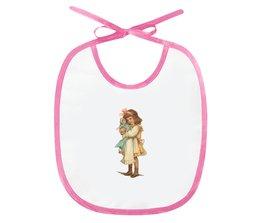 "Слюнявчик ""Девочка с куклой."" - игра, ретро, рисунок, кукла, девочка"