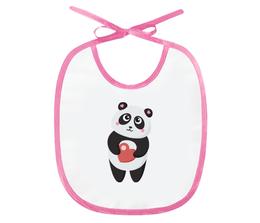 "Слюнявчик ""Панда с сердечком"" - сердце, любовь, панда"