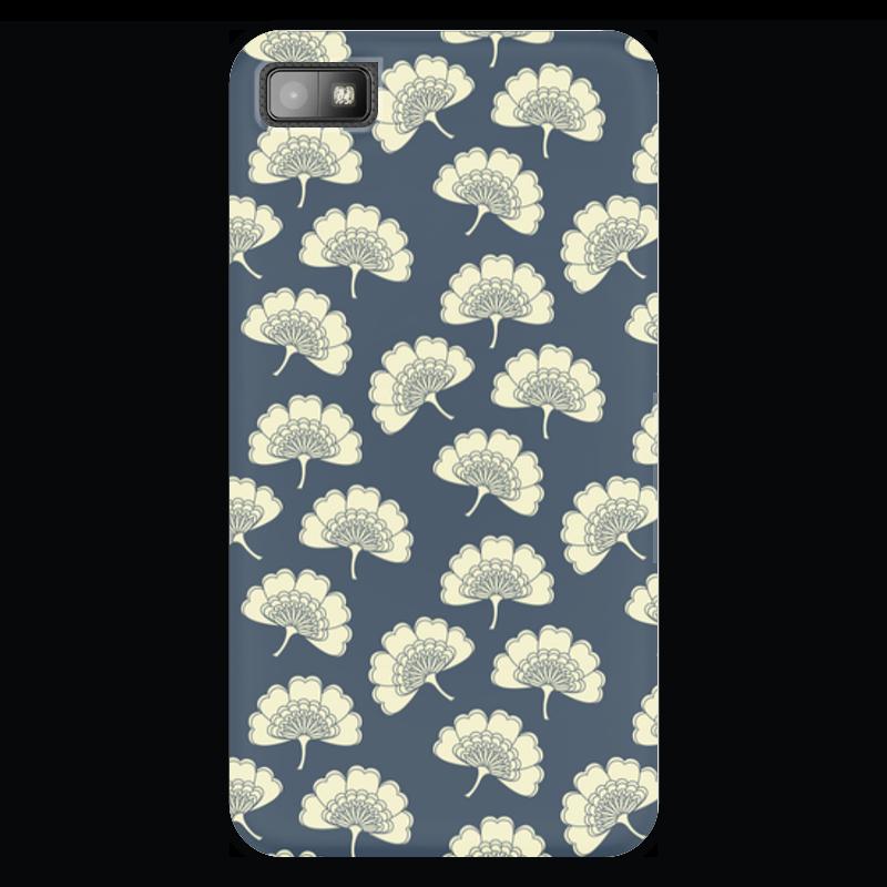 Чехол для Blackberry Z10 Printio Цветочный чехол для карточек пионы на синем фоне дк2017 113