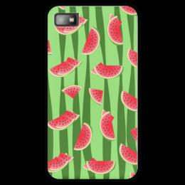"""Чехол для Blackberry Z10 """"Арбуз"""" - полоска, красный, ягода, зеленый, семена"""