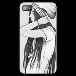 """Чехол для Blackberry Z10 """"Все мы в душе дети"""" - рисунок, девочка, черный и белый"""