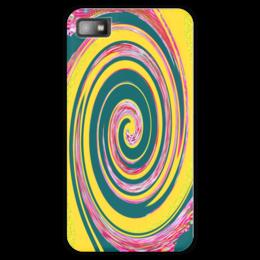 """Чехол для Blackberry Z10 """"Спиральность"""" - спираль, желтый, зеленый, розовый, кольца"""