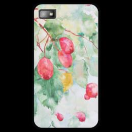 """Чехол для Blackberry Z10 """"Боярышник и Осень"""" - красный, ягоды, оригинальный, акварель, нежный"""