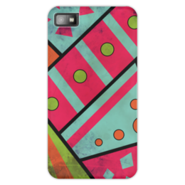 """Чехол для Blackberry Z10 """"Яркая геометрия"""" - полосы, круги, геометрия, треугольники"""