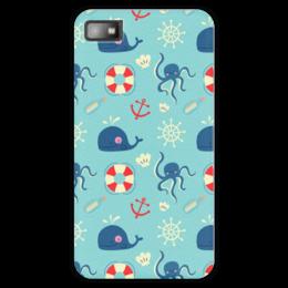 """Чехол для Blackberry Z10 """"Морские обитатели"""" - море, якорь, кит, осминог, штурвал"""