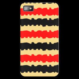 """Чехол для Blackberry Z10 """"Полоски с рванными краями"""" - полоска, черный, красный, бежевый, рванный"""