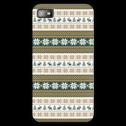 """Чехол для Blackberry Z10 """"Скандинавский узор"""" - узор, зима, орнамент, олень, снежинка"""