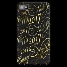 """Чехол для Blackberry Z10 """"New Year 2017"""" - новый год, надпись, поздравление, 2017, красивый шрифт"""