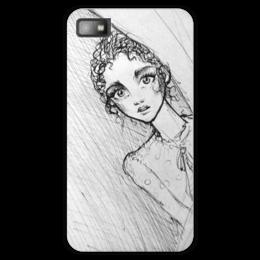 """Чехол для Blackberry Z10 """"Секрет"""" - девушка, мультик, рисунок, чёрно-белый, секрет, secret"""